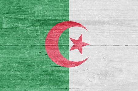 algerian flag: Algerian flag on a wooden plank