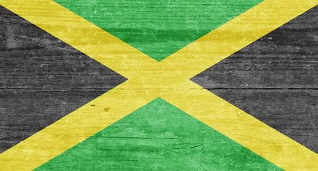 jamaican: The Jamaican flag on a wood plank