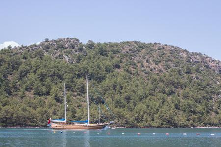 pleasure ship: A photo of a beautiful pleasure boat in a lake