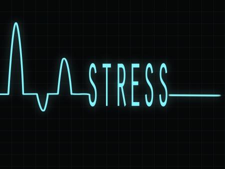 electrocardiogram: Elettrocardiogramma, mostrando la parola Stress