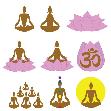 Relaxation, meditation icons Vector