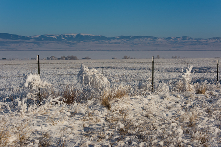 frozen lake: Winter landscape with tumbleweeds in the foreground covered in thick hoar frost and caught on a barbed wire fence. Frozen lake and mountains in the background giving way to a clear blue sky. Scene is lit up by the last rays of a setting sun. Canyon Ferry  Stock Photo