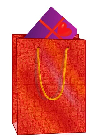 heart tone: red shopping bag with   gift of love Stock Photo
