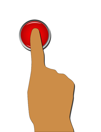 abort: Finger pressing red button on white background