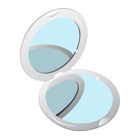 unicoloured: Small pocket make-up woman mirror with unicoloured glasses isolated on white