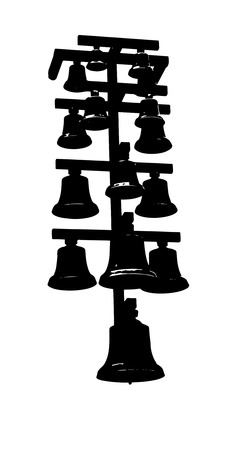 peal: Group bells of various sizes on a single rack isolated on white Stock Photo