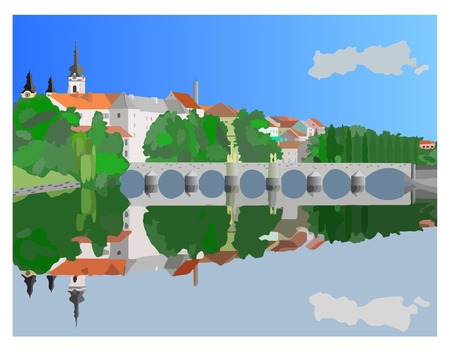 historical romance: PISEK town in color and detail illustration Stock Photo