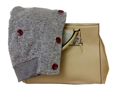 sudadera: bolso de color beige, dinero y sudadera gris en otoño