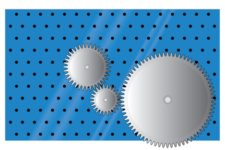 perforated: Three metal gear wheels on perforated blue background