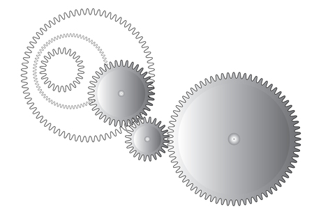 gearing: Three metal gear wheels and gearing on white background