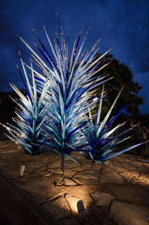 chihuly: Dale Chihuly, Lapis Icicle Tower, 2014 Denver Botanic Gardens, (Portrait) Editorial