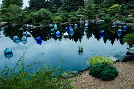 floats: Dale Chihuly, Blue Floats, 2014 Denver Botanic Gardens, (Landscape)