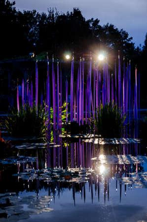 chihuly: Dale Chihuly, Purple Reeds (Pond), 2014 Denver Botanic Gardens, (Portrait) Editorial