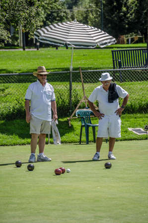 denver parks: On a beautiful late summer day the British game of Lawn Bowling is played.