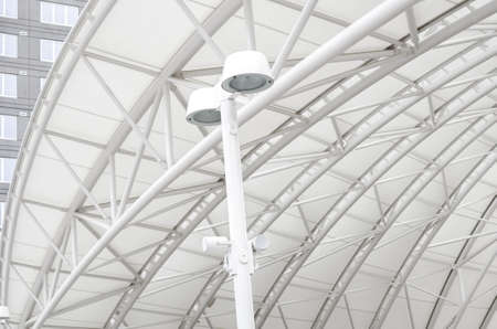 Looking up at the awning covering the platform at Union Station. Stockfoto