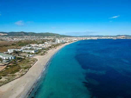 Ibiza beach, Playa den Bossa beach, Spain.