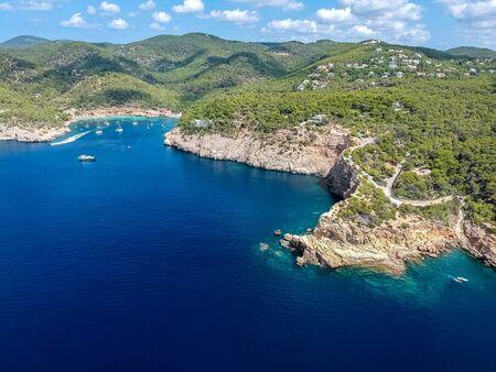 Ibiza beaches. Punta Galera and Cala salada beach, ibiza island, Spain.