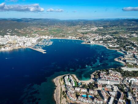 San Antonio de Portmany Bay, Ibiza island, Spain.
