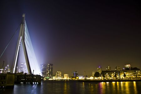 Erasmus bridge, Rotterdam at night photo