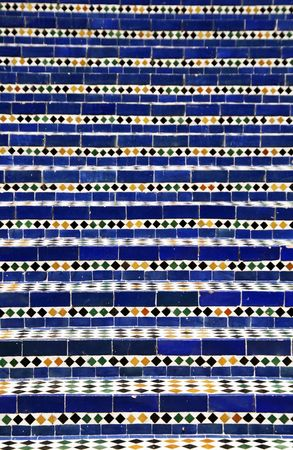 Moroccan blue mosaic stairs photo