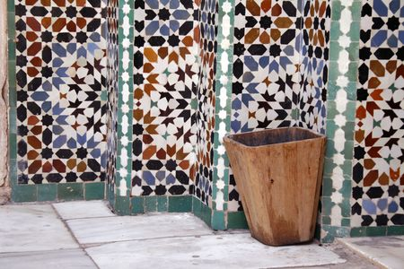Mosaic tiles at Ali Ben Youssef Madrassa in Marrakech, Morocco photo