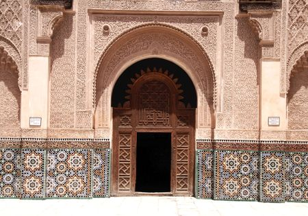 Entrance of Ali Ben Youssef Madrassa in Marrakech, Morocco photo