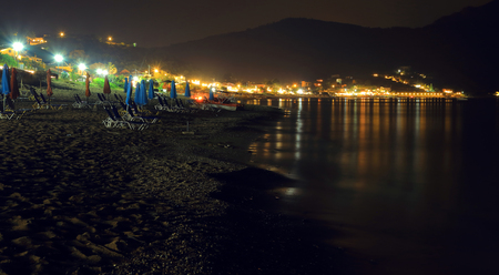 night scene of the town agios georgios pagon on the Iceland corfu taken with bulb exposure by night