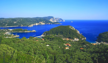paleokastritsa: view over Paleokastritsa on corfu island by daylight