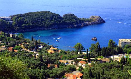 view over Paleokastritsa on corfu island by daylight