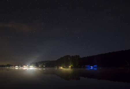 starlit sky: harbour and starlit sky on the werbellinsee by night taken with bulb exposure