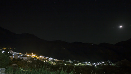 starlit: view on Tejeda village at Gran Canaria, Spain at night taken with bulb exposure Stock Photo