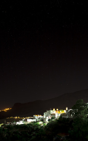 view on Tejeda village at Gran Canaria, Spain at night taken with bulb exposure Stock Photo