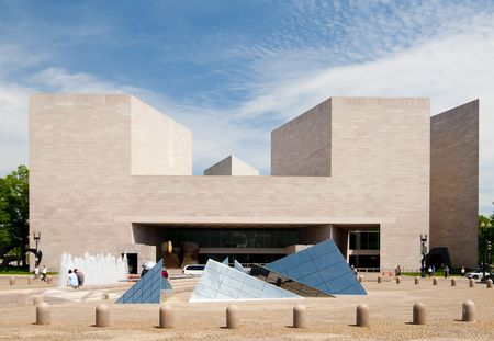 national monuments: The Dramatic Facade of the East Building of the US National Gallery of Art in Washington DC.