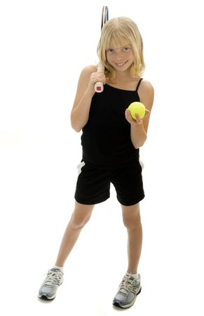 Confident Elementary Age Girl with Tennis Ball and Racket.  Isolated. Stock Photo - 7990097