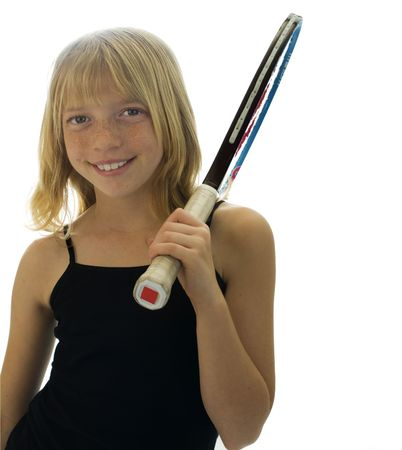 Confident Elementary Age Girl with Tennis Racket. Stock Photo - 7990109