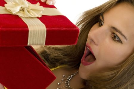Beautiful Blonde Overjoyed by her Surprise Gift. photo