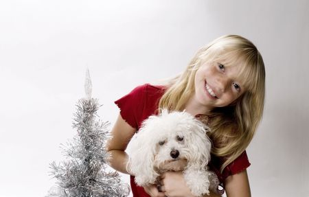 Beautiful Tweenster celebrating Christmas with her new Best Friend photo
