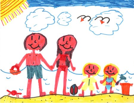 kiddie: Happy Family at Happy Beach! Stock Photo