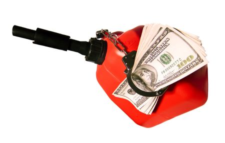 burning money: Hundred Dollar Bills Handcuffed to a Gas Can