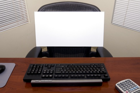 pc: An Office Desk with a Blank Sign Board in the Chair.  Fill in Your Own Text to Express Numerous Business and Employment Issues! Stock Photo