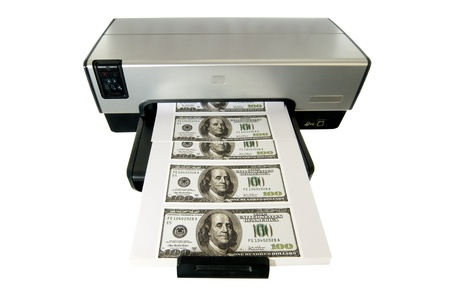 Money Printed on a Desktop Home Printer. photo