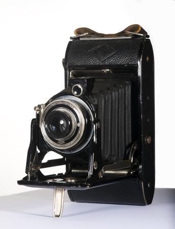 folding camera: 1930s-1940s Folding Camera Isolated on White