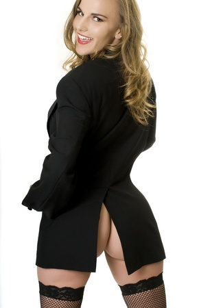 Sexy Rearview of Woman in Mens Jacket.