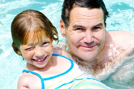 Daddy and Daughter swim lesson. photo