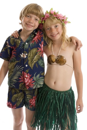 Twins in tropical outfits  Stock Photo - 9242152