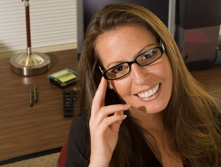 Sexy Office Worker with Glasses Stock Photo - 9267859
