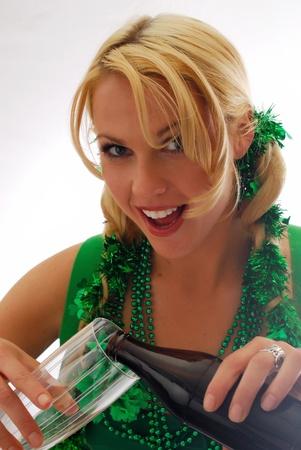 lass: Beautiful Irish Lass Pouring a Pint of Ale