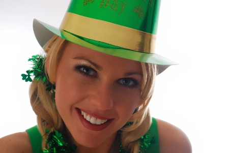 new years day: Beautiful Irish Lass in a St. Pattys Party Hat