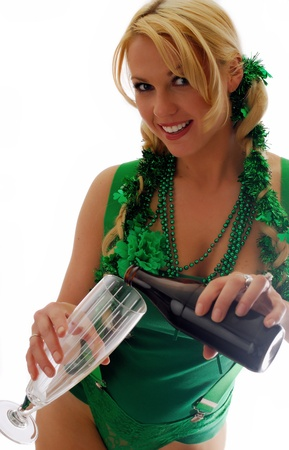 Beautiful Irish Lass Pouring a Pint of Ale  photo