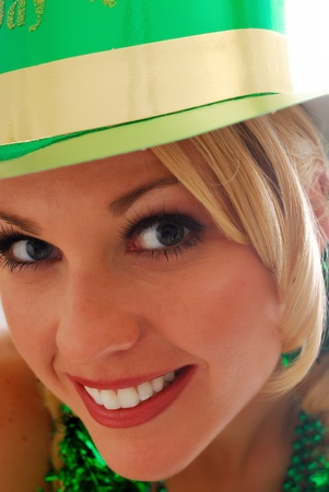 lassie: Beautiful Irish Lass in a St. Pattys Party Hat